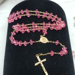 New bright pink colored rosary